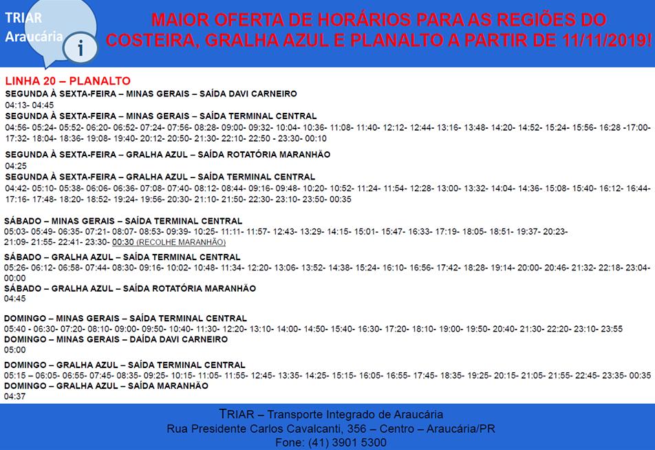 Horários Linha 20 Planalto