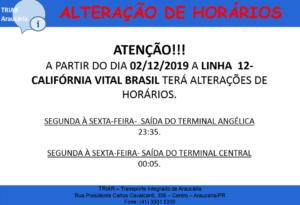 Linha 12 Califórnia Vital Brasil Linhas Municipais