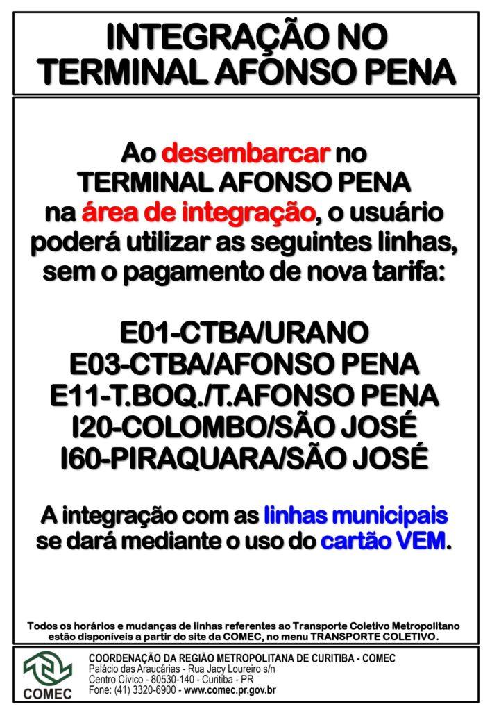 Integração Terminal Afonso Pena São José dos Pinhais